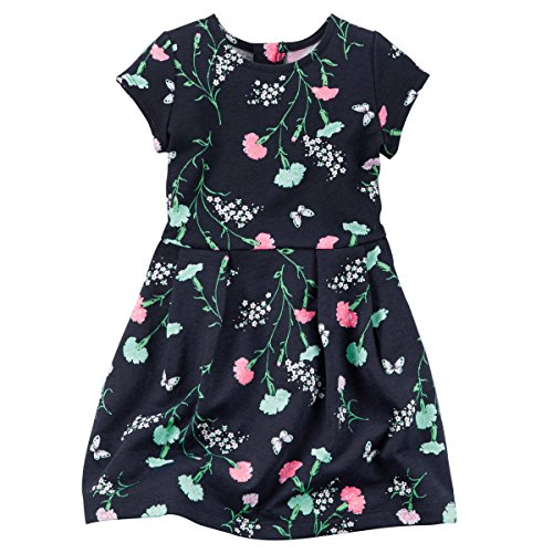 Carter's Toddler Girls-Floral French Terry Dress, Navy, 4T