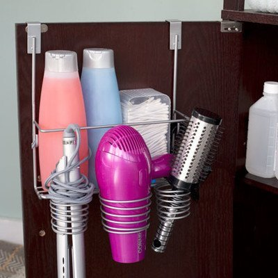 Home Basics Over the Door Bathroom Organizer and Hairdryer Holder