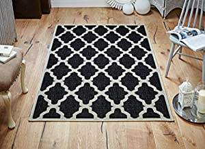Black Trellis Flatweave Modern Kitchen Rugs, Runners Anti Slip Backing from First Rugs