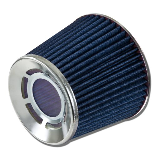 "3"" Inlet X 6"" Cold Air Intake Chrome Open Top Radiaton Design Blue Cone Air Filter front-88541"