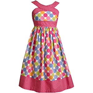 Bonnie Jean Girls 7-16 Dot Print Sundress,Multi,16: Clothing from amazon.com