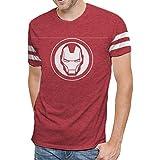 Marvel Comics Avengers Infinity War Iron Man Varsity Logo Mens T-Shirt (L) (Color: Red, Tamaño: Large)