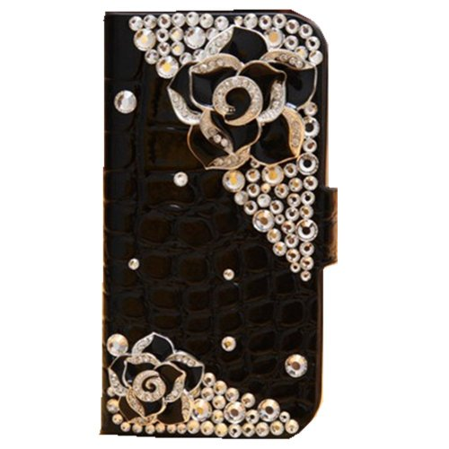 Evtech(Tm) Crocodile Series Luxury Crystal Diamond Bling Design Pu Leather Cover Case For Iphone 4/4S (100% Handcrafted)