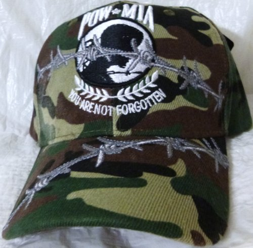 POW MIA Baseball Cap Camouflage with You Are Not Forgotten Green Camo and Embroidered Barb Wire, U.S. Army, Navy, Air Force, Marines, Coast Guard, United States Marines, Military Headwear, Embroidered Stitching Mens