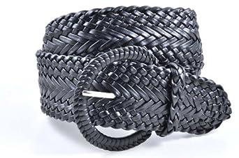 """Ladies Fashion Web Braid Faux Leather Woven Metallic Wide Belt 22 Colors (L (43""""), Black)"""