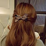 Meilliwish Rivets Retro Aesthetic Bow Wedding Women Girls Hair Clip Hair Clip(XA07)(Black)