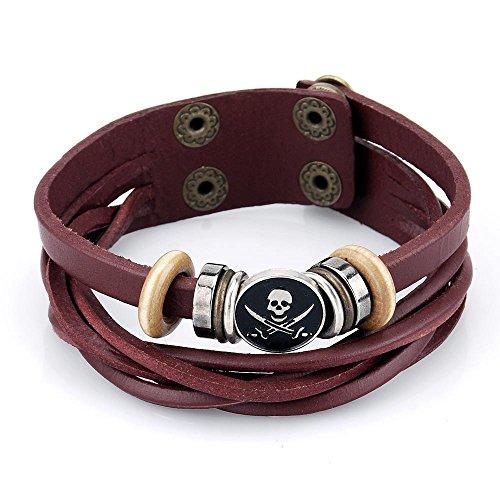 Pridot Pelle Charm Bracciali Accessori Red Skull Punk del Braccialetto del Tessuto Perle Wristband Cuff con Fibbia Regolabile