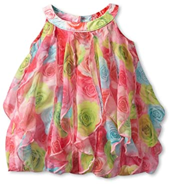 Biscotti Baby-Girls Infant Covered In Roses Vertical Ruffle Dress, Pink/Blue/Green, 12 Months
