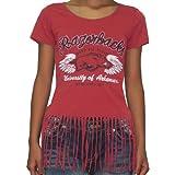 Womens NCAA Arkansas Razorbacks Crew-Neck T-Shirt with Fringe