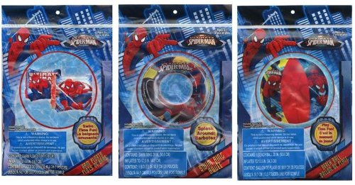 "Spiderman 20"" Beach Ball + Swim Ring + Arm Floats 3 pc set - 1"
