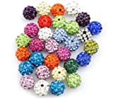 100pcs/Lot 10mm Mixed Color Clay Pave Disco Rhinestone Crystal Shamballa Beads For Jewelry DIY
