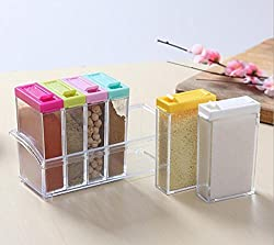 Evana Crystal Seasoning Box Pepper Salt Spice Rack Plastic 6 Masala Box Kitchen See Through Storage Containers