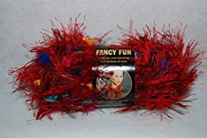 Lion Brand Fancy Fur Yarn - Rainbow Red