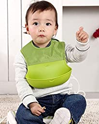 Set of 2 (Green) - Cute Feeding Baby Bib with Silicone Tray for Toddlers. Soft around Neck for Comfort, Water Resistant and Dishwasher Safe. Spend Less Time Cleaning!