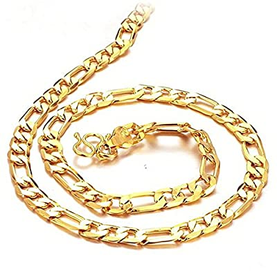 Jewelry 18K SENFAI Gold Plated Men's Necklace Classic Figaro Chain GOLD Europe/ African Necklaces