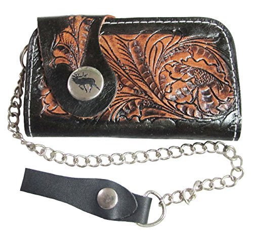 """Hit Hot"" Mini Biker / Trucker Clutch Wallet With Safety Chain Genuine Cow Leather"