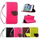 iPhone SE Case, OEAGO [Wallet Stand] [Wrist Strap] iPhone SE Wallet Leather Case Heavy Duty Protective Shock Resistant Wallet Flip Case Cover with ID & Credit Card Pockets for Apple iPhone SE - Rose