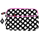 Disney P7100PD 7-Inch Princess Portable DVD Player Case , Neoprene Sleeve with Extra Zipper Pocket-Color: Polka Dots with Magenta Accent Zipper + NuVur keychain