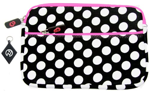 Apple Ipad 1, Ipad 2, Ipad 3, Ipad 4 (Fits All Generations Of Ipad, Including The New Ipad) Soft Neoprene Sleeve Case With Extra Compartment Zipper Pocket, Color: Polka Dots / Pink Zipper + Nuvur ™ Keychain (Nd09Pgw1)