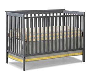 Stork Craft Sheffield Fixed Side Convertible Crib, Gray