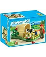 Playmobil - 5124 - Jeu de construction - Abri avec veau et fermière