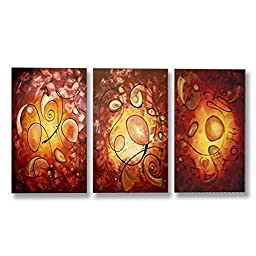 Neron Art - Handpainted Abstract Oil Painting on Gallery Wrapped Canvas Group of 3 pieces - Belo Horizonte 24X16 inch (61X41 cm)