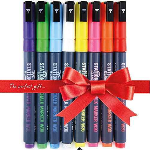 stationery-island-chalk-marker-w30-8-brilliant-bright-colours-liquid-chalk-ink-pens-3mm-bullet-nib-w