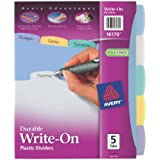 Avery Translucent Durable Write On Reference Dividers, 8.5 x 11 Inches, 5 Tab Set, 1 Set (16170)