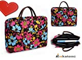 13 inch Laptop Bag Universal Messenger Briefcase for Lenovo ThinkPad X300 - Flowers / Blue, Pink, Yellow. Bonus Ekatomi screen cleaner