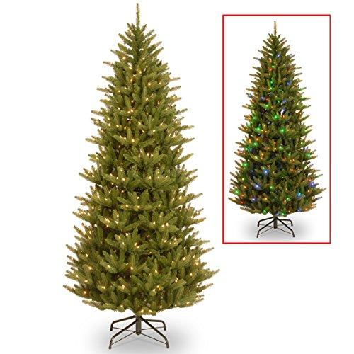 7.5' Feel Real Fraser Slim Fir Artificial Christmas Tree, Color-Change Led Lights