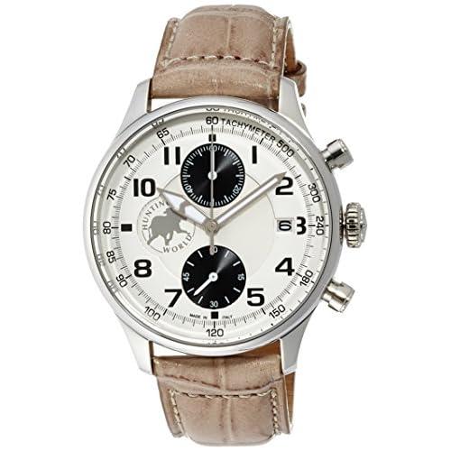 [ハンティングワールド]Huntingworld 腕時計 クロノマジックⅡ シルバー文字盤 グレーベージュ革 クォーツ メンズ HW021GY メンズ 【正規輸入品】