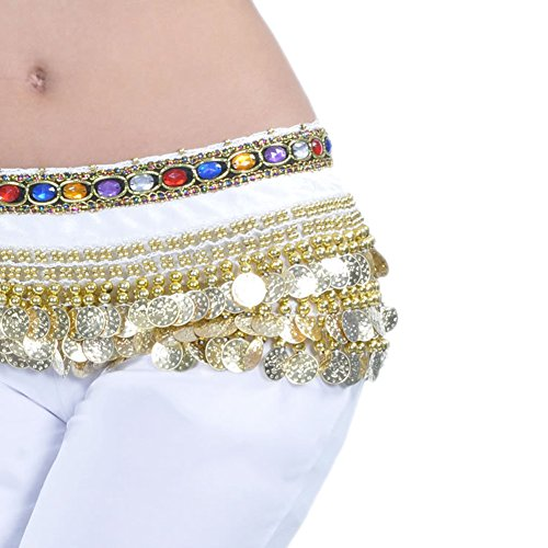 AvaCostume Belly Dance Gold Coins Jewelry Dangling Hip Scarf