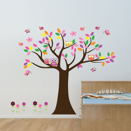 Witkey Colorful Flowers Butterfly Owls Birds Around Tree Nursery Wall Art Sticker Home Decals Decor Mural