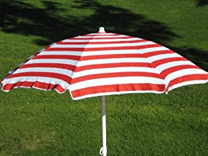 6FT. 96% UVA PROTECTION BEACH UMBRELLA WITH CARRY CASE - RED AND WHITE STRIPED