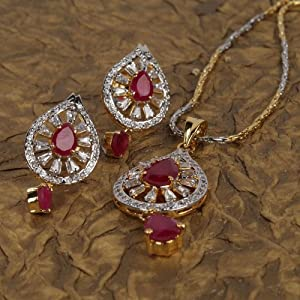 Reema Jewels Women Girls Pendants and Sets RJ 11399 Pink Silver