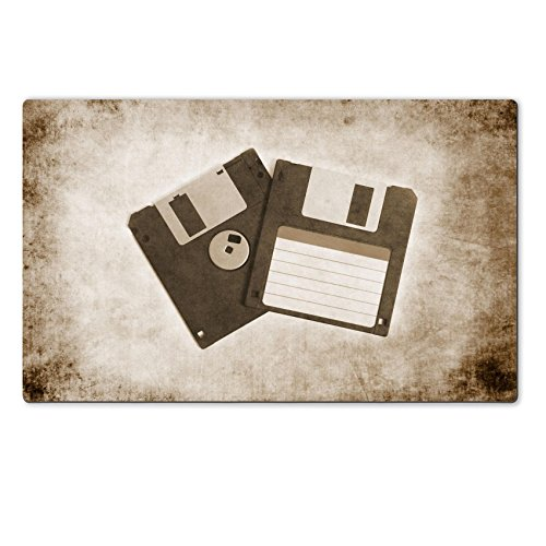 Luxlady Large TableMat IMAGE ID 31489399 two old floppy disks on textured background sepia retro vintage