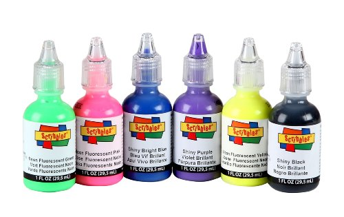 Scribbles Dimensional Fabric Paint 6/Pkg - 80'S Pop