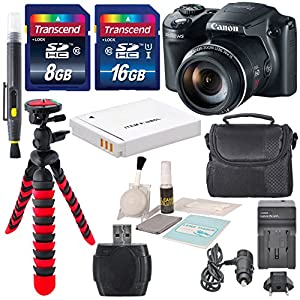 Canon Power Shot SX510 HS Digital Camera + 24 GB Total Memory + Flexible Tripod, Cleaning Pen, Replacement Battery, Travel Charger, Cleaning Cloth, and a Blower Brush and Deluxe Bundle