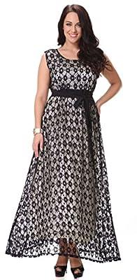 Yacun Women's Sleeveless Lace Swing Dress Maxi Evening Gown Plus Size