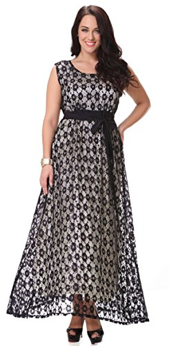 Yacun Women's Sleeveless Lace Swing Bridesmaid Dress Maxi Evening Gown Plus Size Black_5