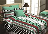 Maissen Belladonna Geometrical Polycotton Double Bedsheet with 2 Pillow Covers - Turquoise