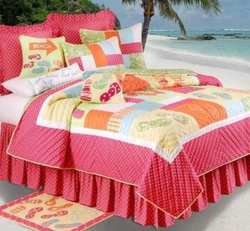 enterprises flip flops on the beach quilt set
