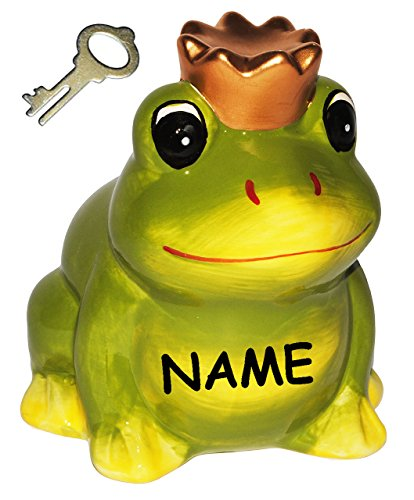 """Spardose - """" Frosch mit Krone / Froschkönig """" incl. Namen - stabile Sparbüchse mit Schlüssel - aus Keramik / Porzellan - Sparschwein lustig witzig - Prinz - Traummann / Prinzen - Liebe - für Erwachsene / Kinder Mädchen Jungen - Schwein"""