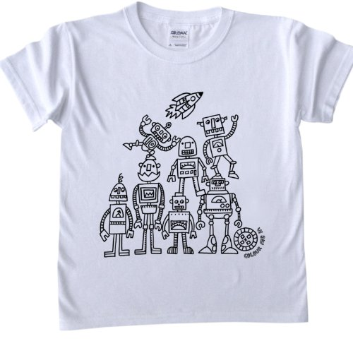 Robots Design T-Shirt for colouring in.
