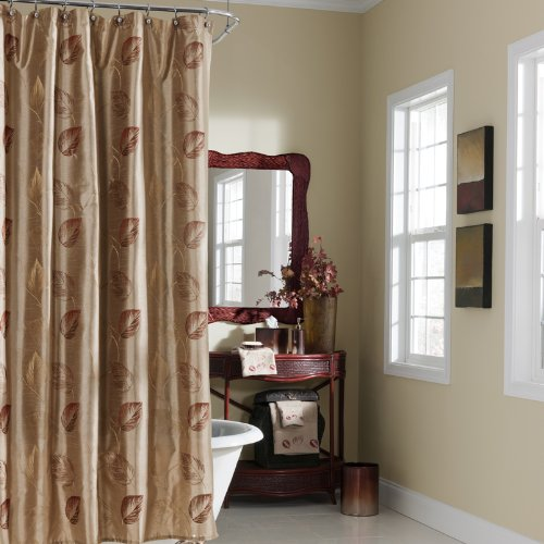 Croscill Home Fashions Arbor Leaves Shower Curtain, 72-Inch by 72-Inch, Gold