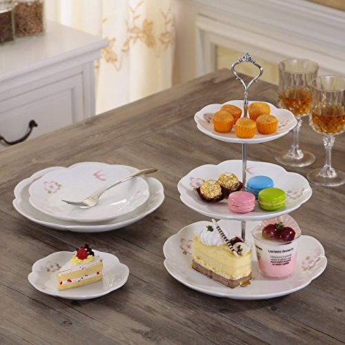 Jusalpha® 3-tier Porcelain Cake Stand-Pastry Platter-Cupcake Stand-Tea Party Serving Platter (CB3R-White) (Silver )