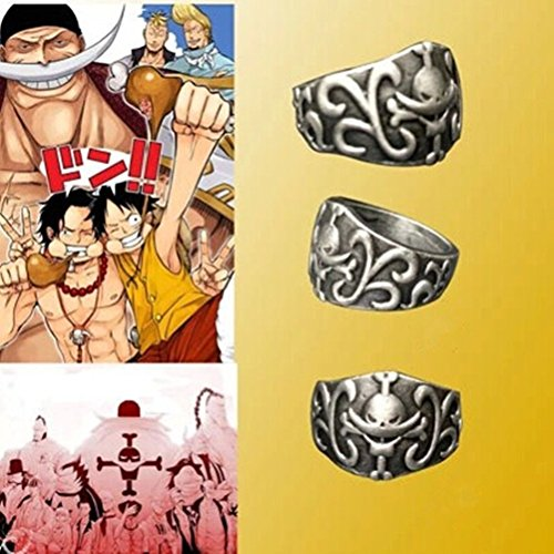 HiRudolph Cosplay One Piece Edward Newgate Monkey·D·Luffy Ring Portgas Ace Skull Ring