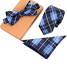 Fashion Polyster Skinny Neck ties and Bowtie Pocket Square 3pcs Set for Gifts 7
