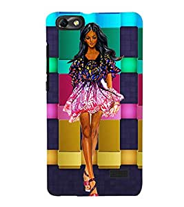 WESTERNIZED GIRL WITH A CHECK COLOURED BACK GROUND 3D Hard Polycarbonate Designer Back Case Cover for Huawei Honor 4C :: Huawei G Play Mini
