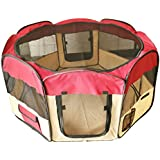 """ESK Collection 45"""" Pet Puppy Dog Playpen Exercise Pen Kennel 600d Oxford Cloth Red"""